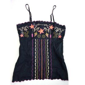 Rampage Black Embroidered Boho Floral Tank Top S